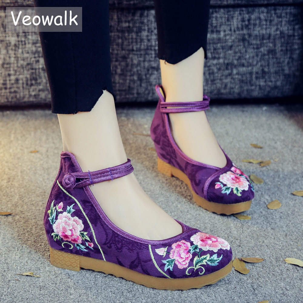 Veowalk Flocked Cotton Women Embroidered Flat Platforms Thick Bottom Mid Top Ankle Strap Ladies Casual Floral Embroidery Shoes 3ch 5v relay module w opticalcoupler protection red blue