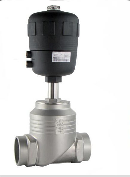 3 inch 2/2 way piston controlled flat-seat valve globe control valve  big port with weld ends 125mm S.S actuator globe valve 2 way nc 1 1 2 in f npt