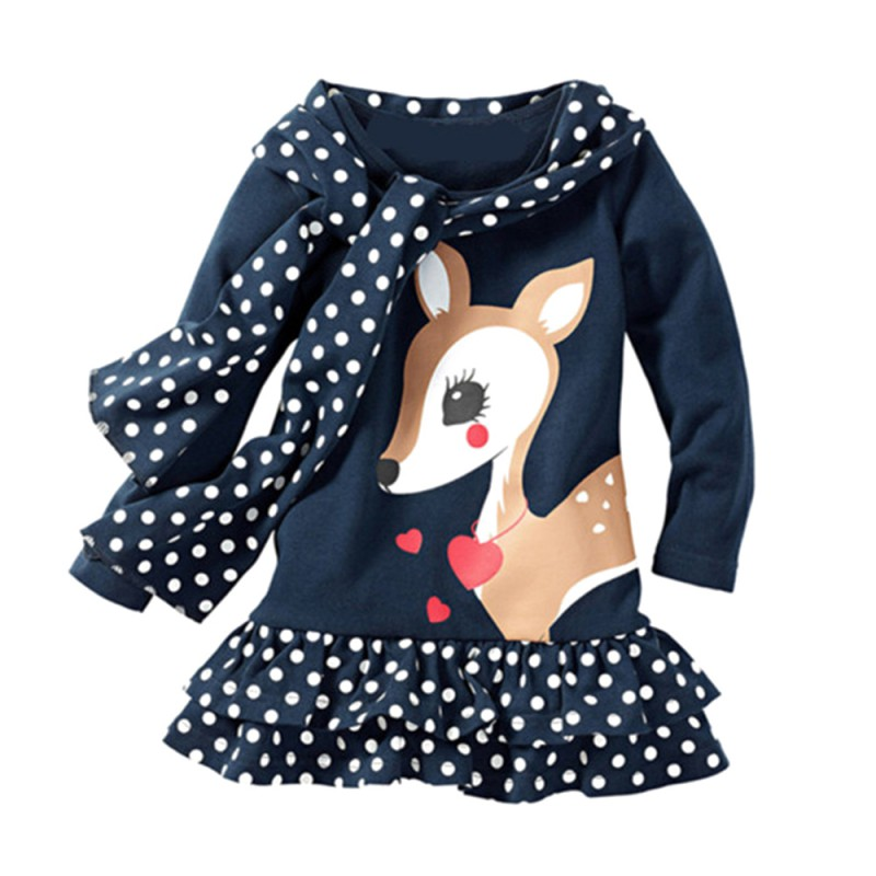 Blue Girl Dress With Fawn Pattern Suitable For Dressing In Spring Season Different kinds Of Size Fashion Style