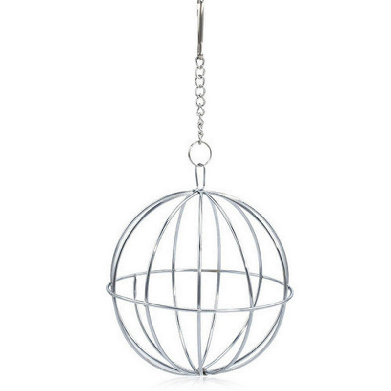 1pc Stainless Steel Round Sphere Feed Dispense Exercise Hanging Hay Ball Guinea Pig Hamster Rat Rabbit