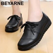 BEYARNESuperstar النساء أحذية ربيع 2019 جديد نمط المرأة أحذية الموكاسين جلد طبيعي الصلبة الضحلة أحذية size35 41E012