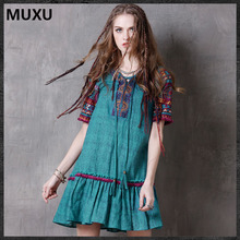 MUXU green vintage dress elbise womens clothing embroidery dress vestido clothes women loose moda feminina cotton vetement femme