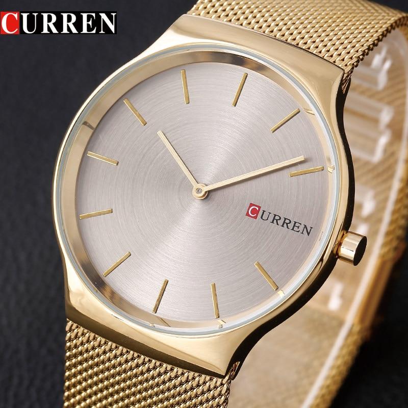 CURREN Luxury Brand Men Watches Men Quartz Ultra Thin Clock Male Waterproof Sport Watch Gold Casual WristWatch relogio masculino