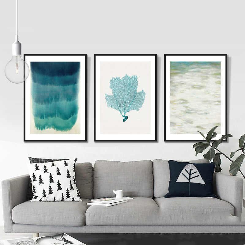 Kanvas Lukisan Seni Gambar Nordic Laut Biru Lanskap Dinding Seni Gaya Ruang Tamu Modern Lukisan Dekorasi Rumah Poster dan Cetakan