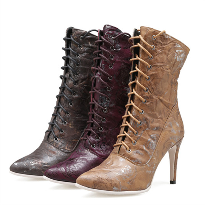 Mince light Asumer Grande Chaussures 43 Hiver Mi Red Nouvelles Femmes Taille purple mollet Bottes Bal Brown 35 Femme Brown Dark Mode Talons De Pointu Dames 2018 Automne Haute Yvy76bgf
