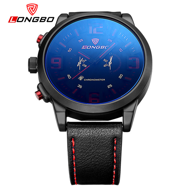 LongBo Sport Watch Blue Special Date Classic Design Leather Band Military Tag Waterproof Quartz Men Watches Left-handed Design 4