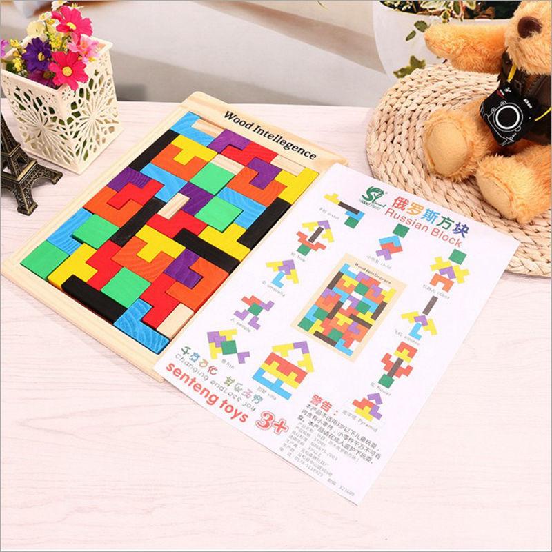 Kids Leker Colorful Wooden Tangram Brain Teaser Puzzle Leker Tetris - Puslespill - Bilde 4