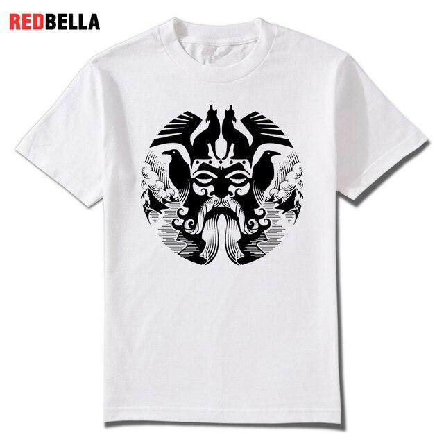 REDBELLA 2018 New Men Tees Odin Vikings Valhalla Asgardian Nordic Printed Cool Man T-shirts Shapes Magical Punk Clothes Hot