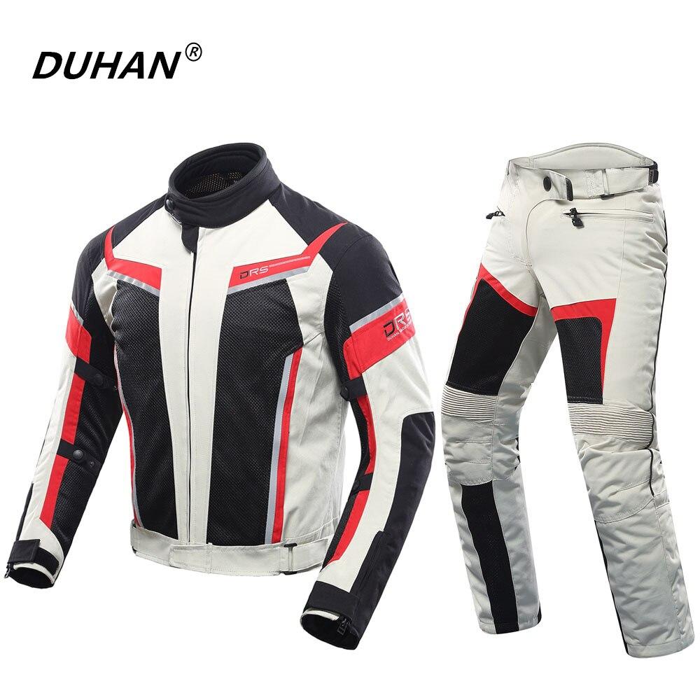 Духан мужской мотоциклетный костюм гоночная куртка + мотоциклетные брюки дышащая женская куртка для влюбленных костюмы мотоциклетные брюк...