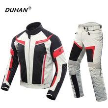 DUHAN Erkekler Motosiklet Ceket + Motosiklet Pantolon Nefes Kadınlar Yarış Ceket Severler Takım Elbise Motosiklet Sürme Pantolon Giyim Seti