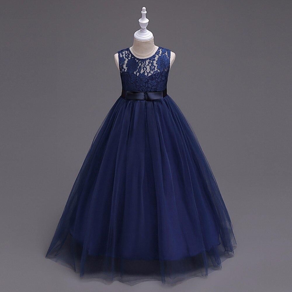 In Stock Navy Blue Tulle Lace   Flower     Girl     Dresses   2019 A Line Sleeveless Cheap Little   Girl     Dress   For Wedding Vestido De Daminha