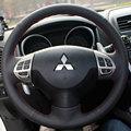 Negro cubierta del volante del coche de cuero para mitsubishi lancer ex lancer 10 x outlander asx colt pajero sport
