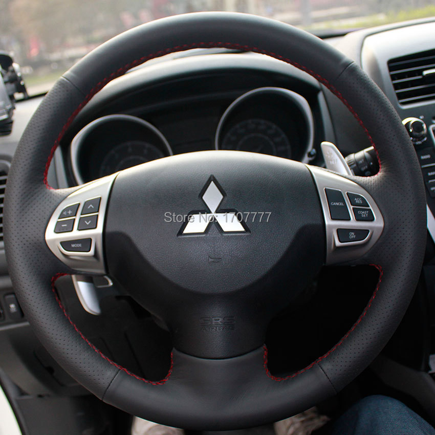 Prix pour Noir En Cuir Couverture De Volant de Voiture pour Mitsubishi Lancer EX 10 Lancer X Outlander ASX Colt Pajero Sport
