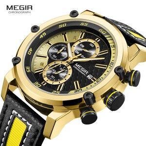 Image 3 - MEGIR montre bracelet de sport en cuir pour hommes, mode chronographe, étanche, analogique, à Quartz, 2079GDBK
