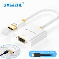 SAMZHE HDMI a VGA convertidor hdmi vga adaptador 1080P con cable de salida de Audio de alimentación para ordenador portátil PS4 Monitor XBOX TV box