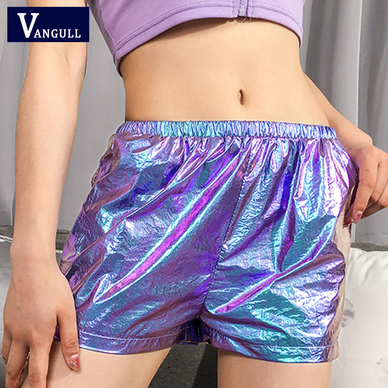 Vangull Women's Shiny Metallic Shorts Elastic Waisted Dance Reflective Fashion Fitness Skinny Ladies Shorts Hip Hop Streetwear