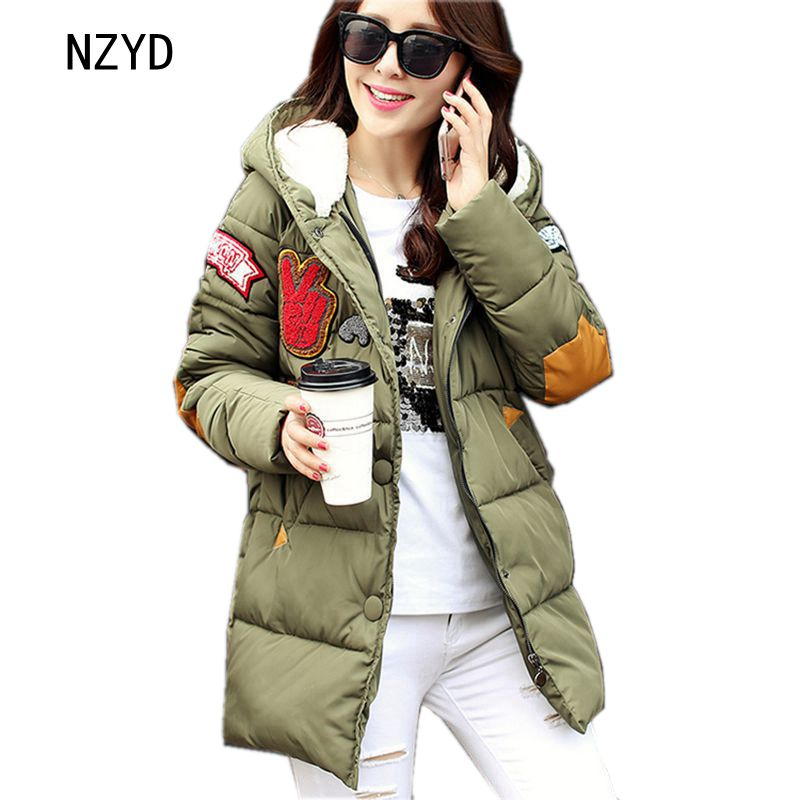 2017 Latest Winter Fashion Women Down jacket Hooded Thickening Super warm Medium long Coat Printing Loose Big yards Coat NZ204 2017 latest winter fashion women down jacket hooded thick super warm medium long coat long sleeve loose big yards parkas nz263