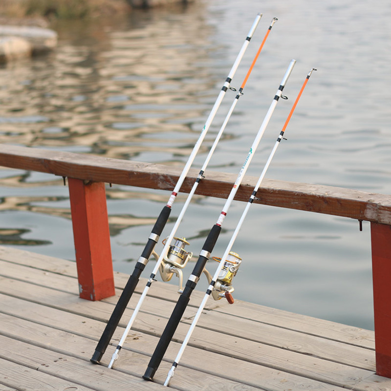 Portable1.5M 1.8M White Glass Fishing Rod Super Hard Two Sections Lure Poles Travel Fishing RodPortable1.5M 1.8M White Glass Fishing Rod Super Hard Two Sections Lure Poles Travel Fishing Rod