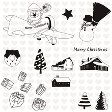 Eastshape Xmas Decor Cutting Dies 2019 And Stamps Santa on Jet with Airdrop Clear Mental Scrapbooking DIY Card Craft