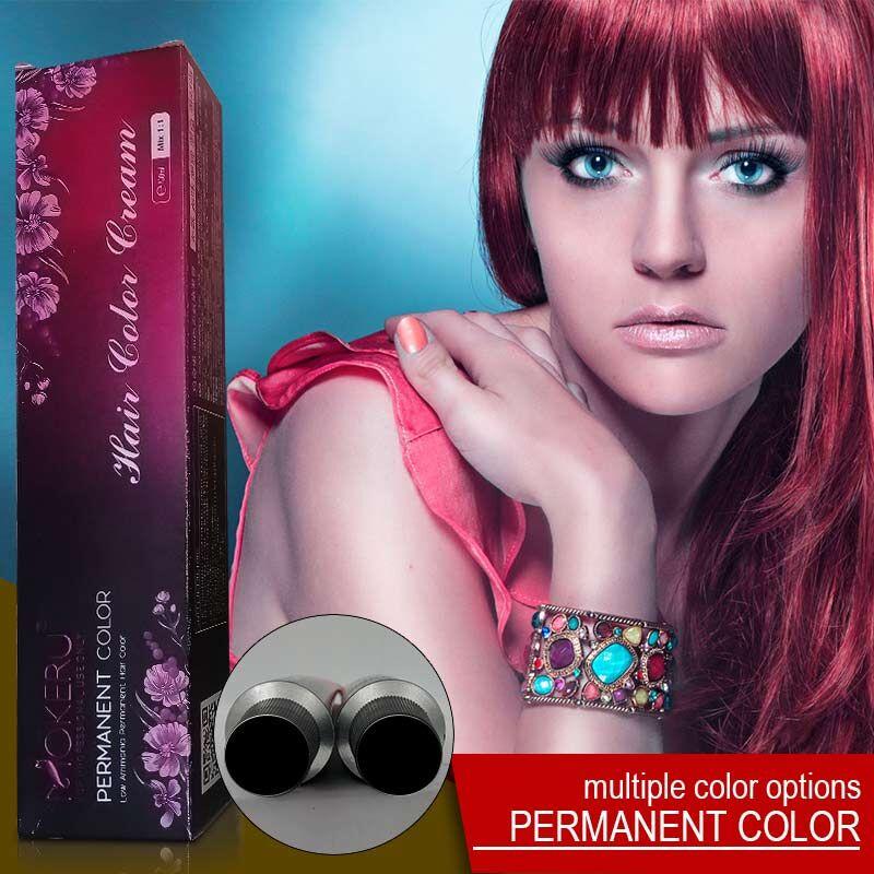 Mokeru 100ml Ammonia Free Color Cream Professional Natural Red Unisex Hair Dye Cream Purple Hair Color Permanent Paint For Hair