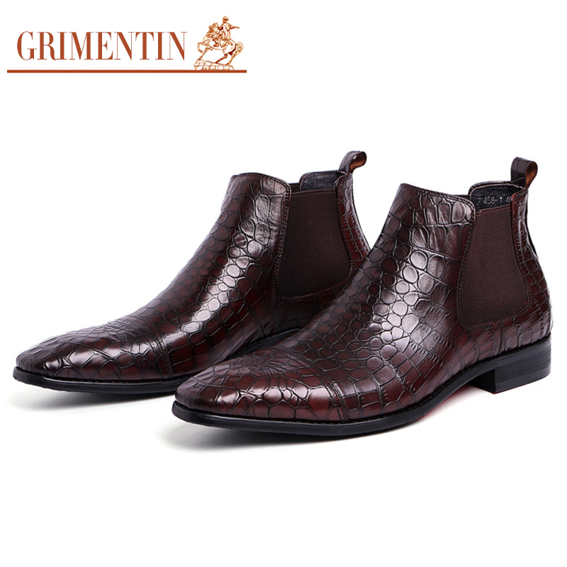 GRIMENTIN Mens Ankle Boots Italian Designer Crocodile Prints Genuine Leather Black Brown Dress Booties size38 44 SH49
