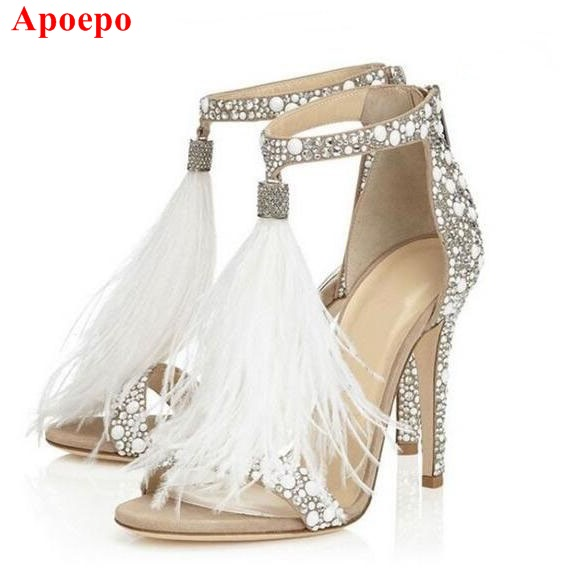 Hot Selling Crystal Embellished High Heel Sandals Women Summer Feather Tassel Cage Shoes Cut-out Gladiator Sandals Dress Shoes hot selling denim blue ankle strap buckle high heel sandals cut out thick heel gladiator sandals for women summer dress shoes