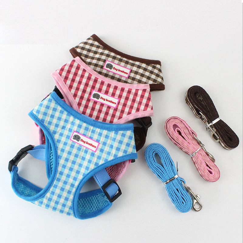 Pet Breathable Mesh Small Dog Harness and Leash Set Puppy Vest 3 Colors S M L
