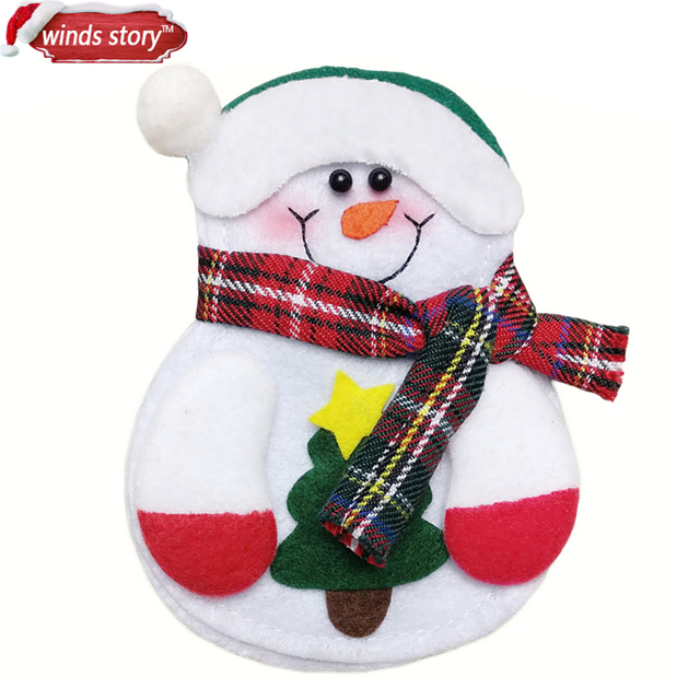 Christmas Decorations Snowman Kitchen Tableware Holder bag 12pcs Party gift Xmas ornament Christmas decorations for home table 1