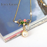 New Love Of Symbol Series Rose Flower Pearl Pendant Necklace Clavicle Chain Fashion Gold Really Plated Woman Jewelry
