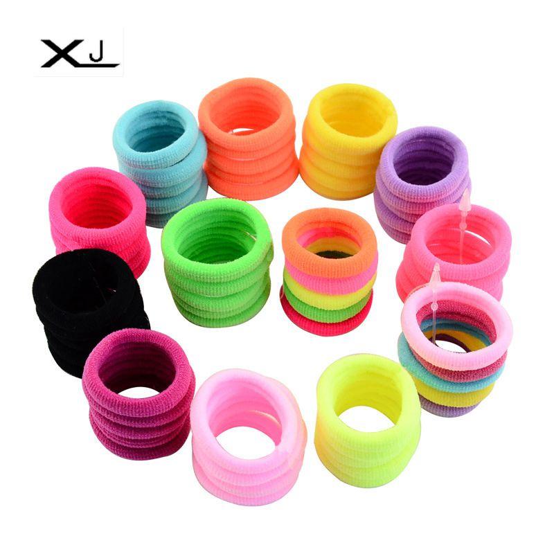 50pcs 3cm Color Fluorescent Rubber Band Combination Elastic Hair Fashion Women