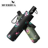 MUERHUA Fashion Flower Automatic Umbrella Women Men Windproof 3 Fold Durable Strong Anti UV Umbrellas High