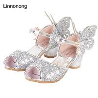 Linnonong 2017 New Summer Girls Princess Sandals Fashion Children Girl Wings High Heel Sandals Kids Dance