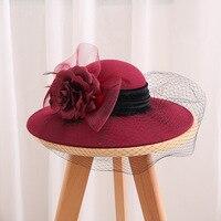 2019 Luxury Australian Wool Fedora Hat For Women Autumn Winer Big Flower Wide Brim Bucket Hat Party Mesh Floral Pillbox Sombrebo