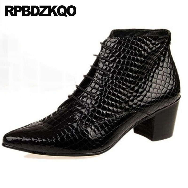 High Top Snakeskin Shoes Wedding Pointed Toe Patent Leather Oxford Dress Crocodile Booties Lace Up Mens Heel Boots Chunky BlackHigh Top Snakeskin Shoes Wedding Pointed Toe Patent Leather Oxford Dress Crocodile Booties Lace Up Mens Heel Boots Chunky Black