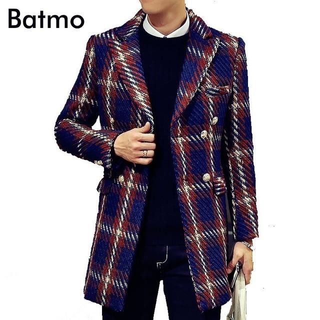 2017 зима траншеи пальто Мужчины двухместный Грудью Пальто Мужчины Верхняя Одежда плед Повседневная Пальто мужская Куртка Ветровка Мужчины Траншеи пальто