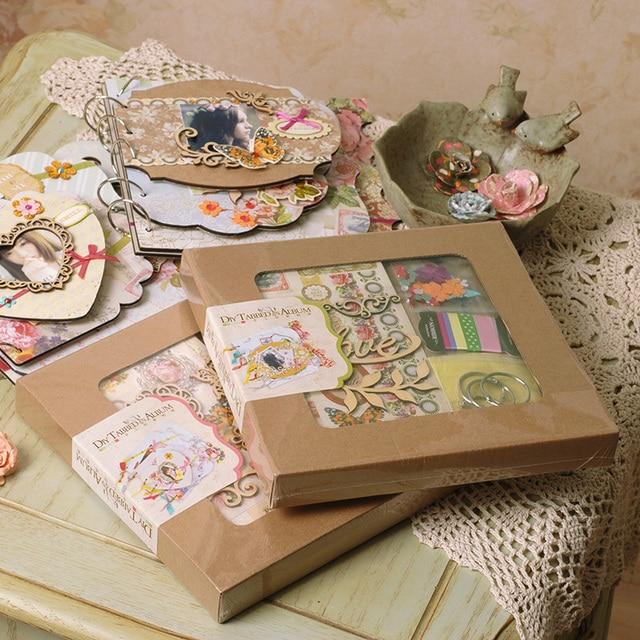 vintage diy tabbed album kit chipboard 6 ring bind scrapbooking photo album instax album in. Black Bedroom Furniture Sets. Home Design Ideas