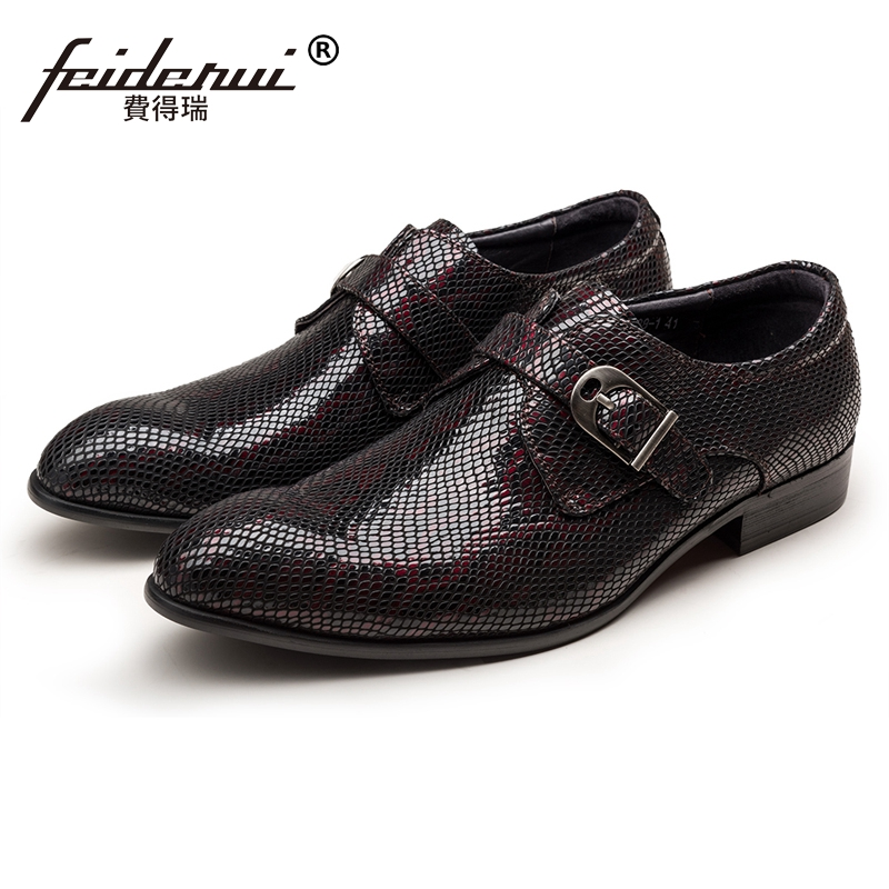 2018 Luxury Formal Dress Man Monk Strap Shoes Genuine Leather Snake Pattern Round Toe Derby Men's Wedding Party Footwear JS46 luxury snake pattern patent leather men s monk strap formal dress footwear round toe handmade male casual shoes for man ymx411