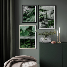 Fresh Palm leaf Plant Leaves Landscape Nordic Posters And Prints Wall Art Canvas Painting Pictures For Living Room Decor
