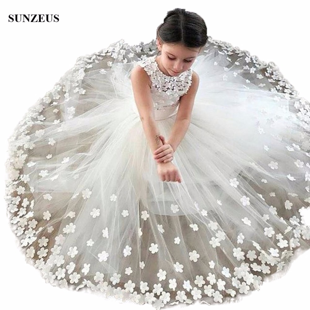 New Arrival   Flowers   Party   Dress   For Childern A-line Tank Long Ivory Tulle Floral   Flowers     Girls     Dresses   For Wedding FLG003