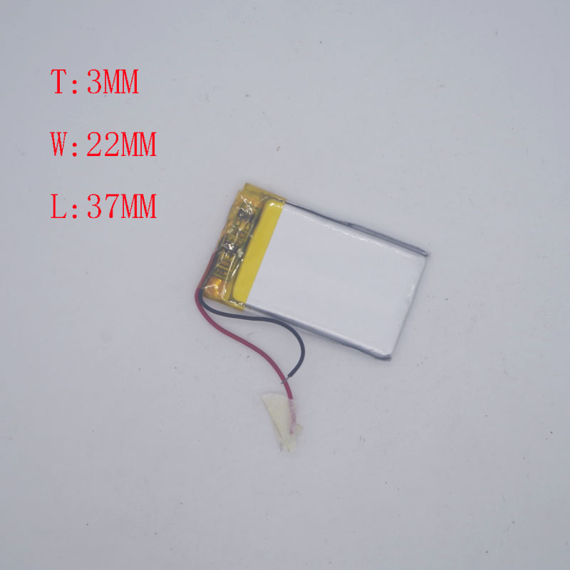 <font><b>3.7V</b></font> Polymer Lithium battery 302035/302237 180mah CarLog MP3 MP4 image