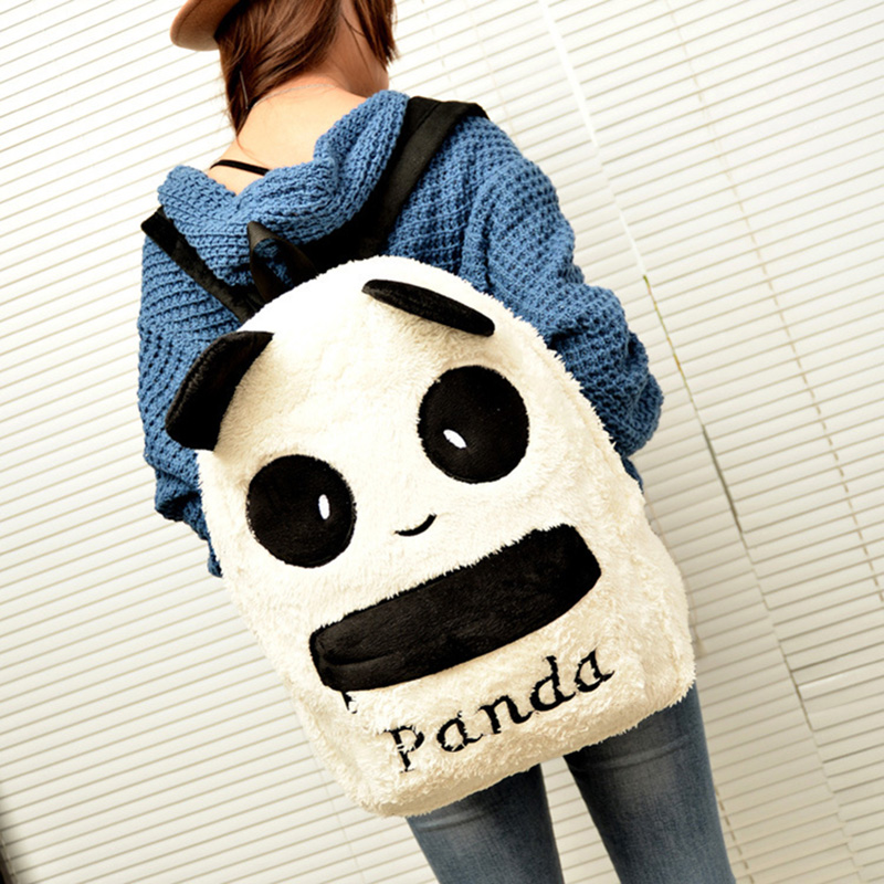 RU&BR New Fashion Korean version of the Cartoon Panda Backpack Large Capacity Cute Plush Student Package Female Shoulders Bags factory outlets opening film ru ru tea sets italics kit logo new custom large favorably