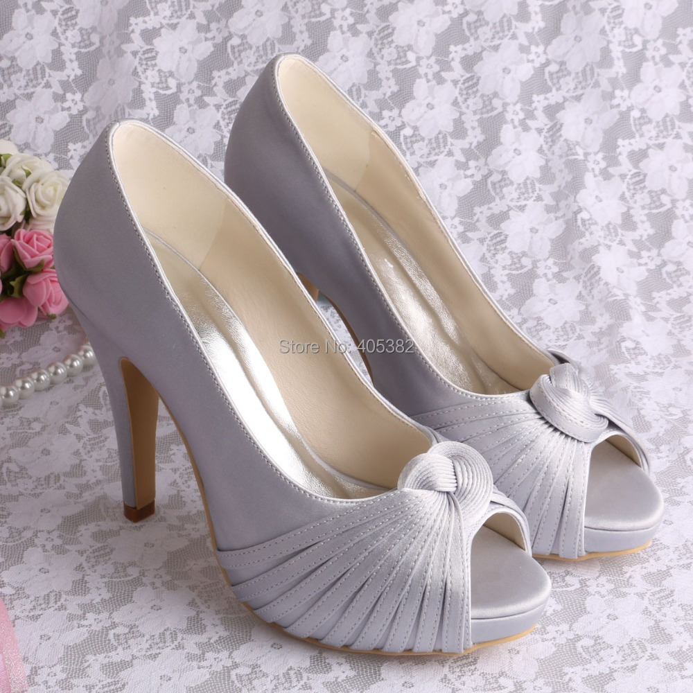 grey wedding shoes wedopus grey high heel shoes wedding peep toe 4626