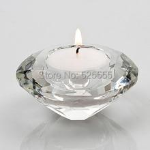 Free Shipping 50 pcs Shinning  Crystal Diamond shape Wedding Table Decorative Tealight Candle Holder