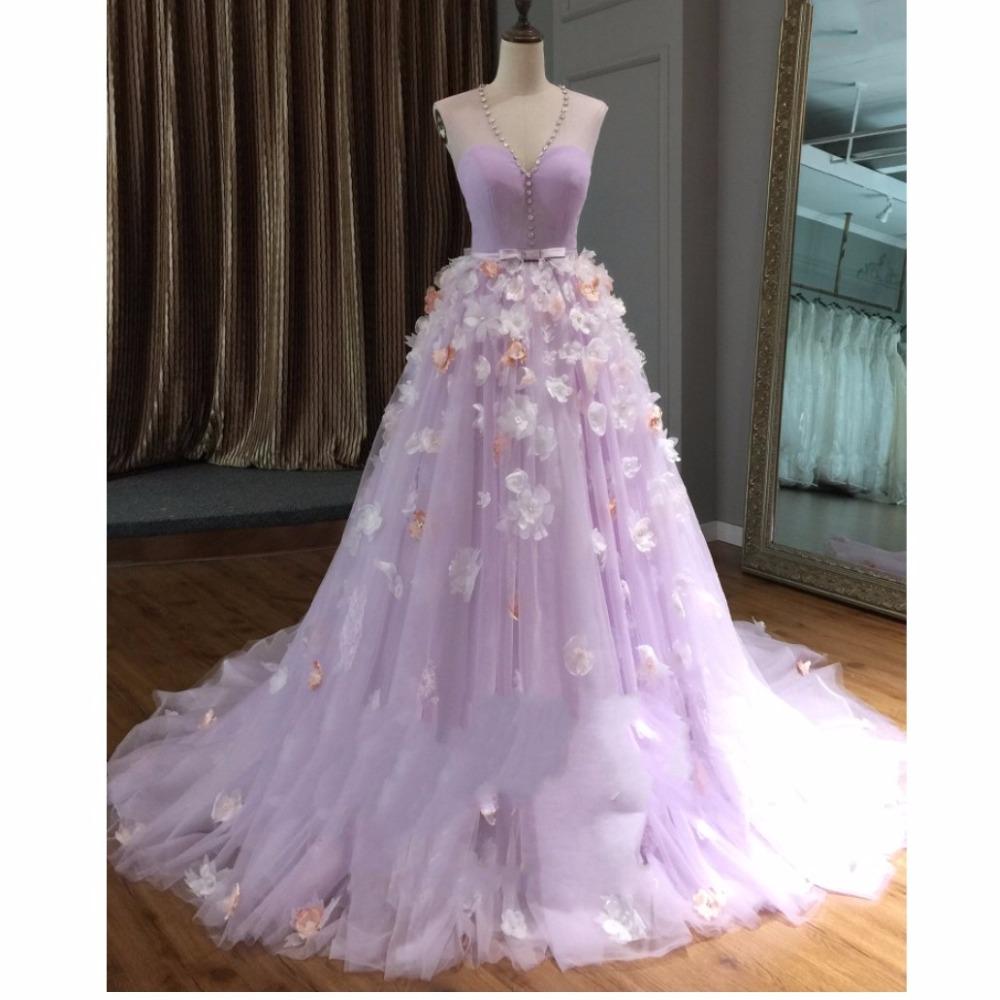 Pretty 3D Flower Long   Prom     Dresses   2018 Lavender Crystal Tulle   Prom   Gowns Illusion V-neck Aline Bow Formal Party   Dress   Abiye