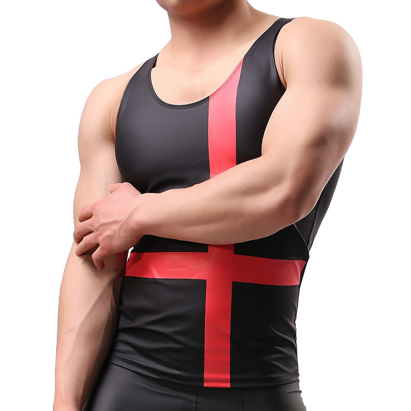 Men Faux Leather Nightclub Striped Cross Sleeveless Pullover Muscle Cut Vest   Tank     Tops   Undershirts Sexy Clubwear for Performance