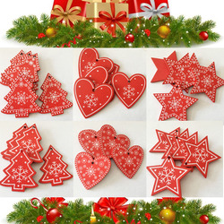 New 10pcs/Lot  Xmas Tree Decoration For Home Natural Wood Red 5CM Christmas Ornaments Snowflakes Pendant Hanging Gifts Wedding 1