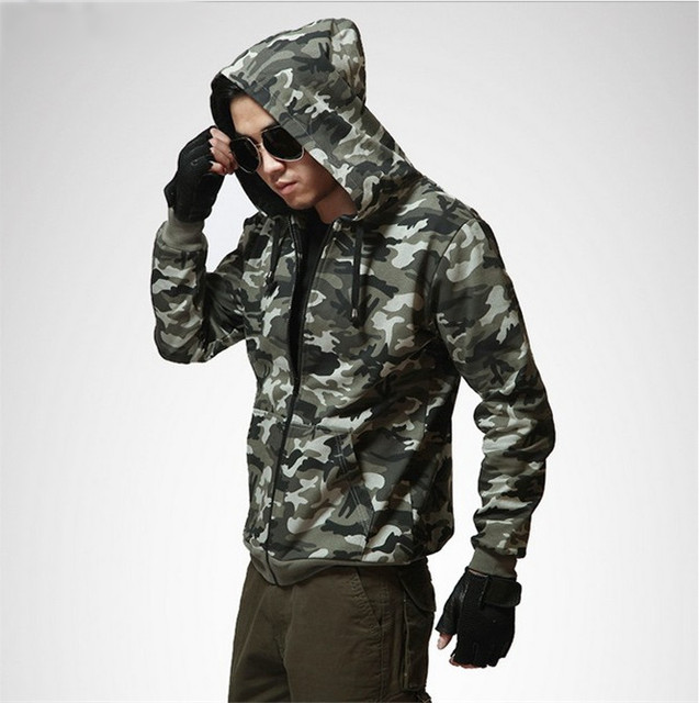 Mens camo hooded jacket