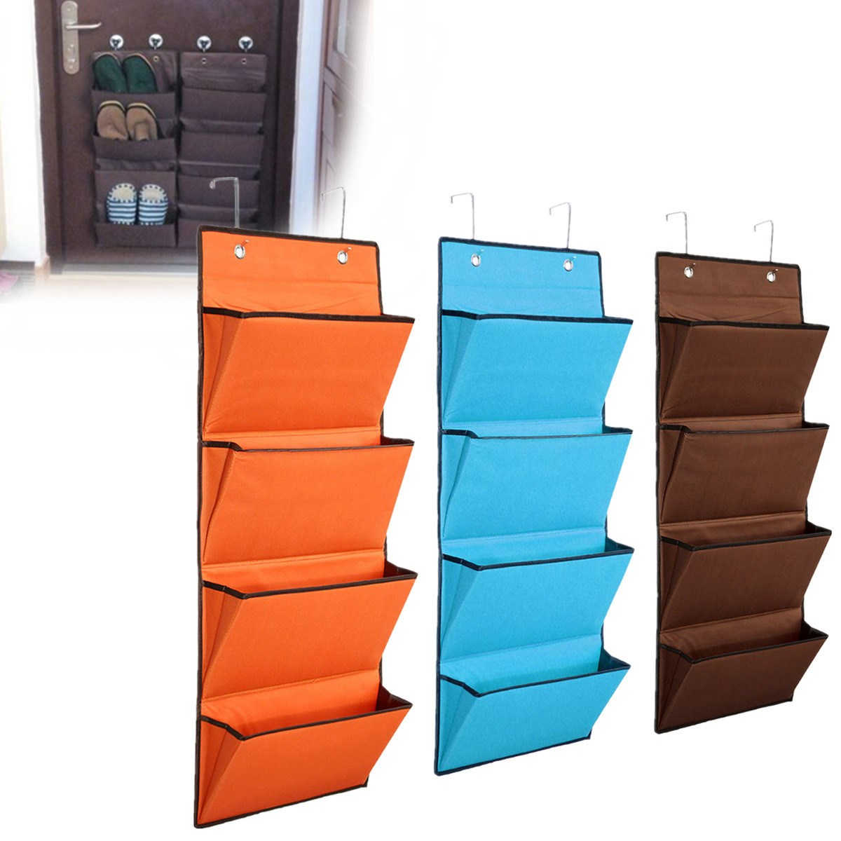 Hanging Storage Bag Book Newspaper Jewelry Organizer Over Door Cloth Shoes Storage Ganchos Para Parede Closet Toy 4 Tier