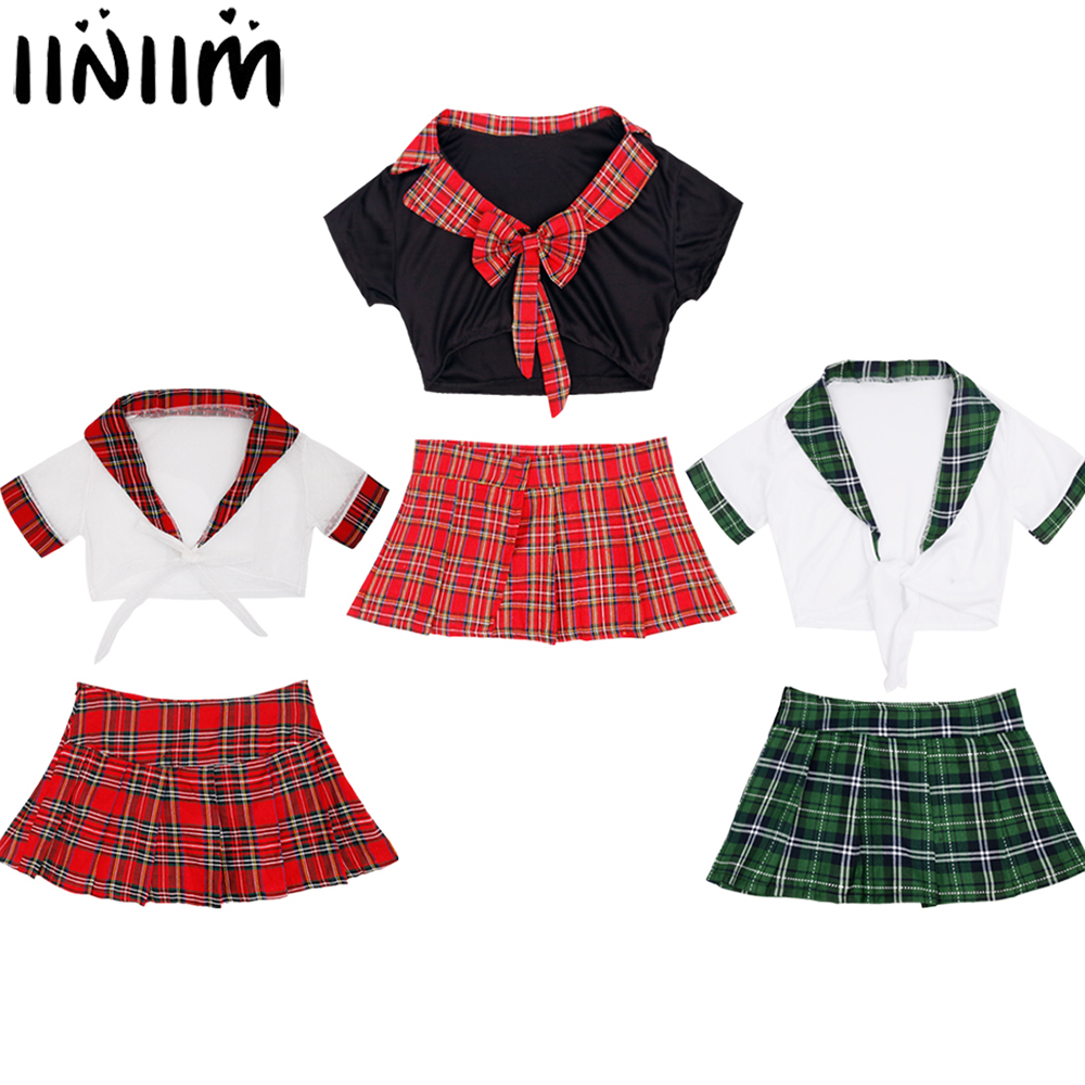 Womens School Girls Uniform Transparent Wetlook See-through Sexy Costumes for Ladies Wetlook Top with Plaid Skirt Cosplay Cloth