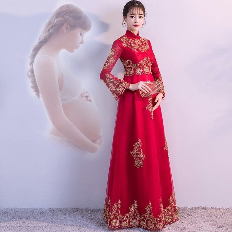 Red Pregnant Bride Waist Wedding Gowns Traditional Chinese Clothes For Women Dress Modern Cheongsam Qipao Oriental Style Dresses